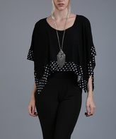 Aster Black & White Polka Dot Poncho