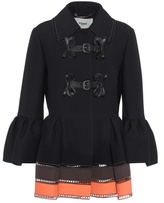 Fendi Leather-trimmed wool and silk jacket