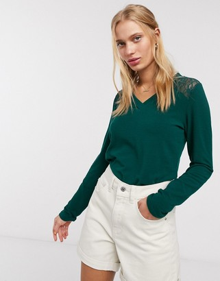 Only Betty long sleeve lace detail jumper