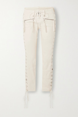 Unravel Project Lace-up Leather Skinny Pants - Cream