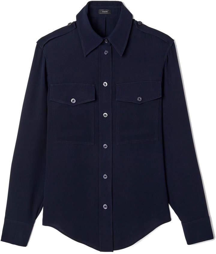 Joseph Rainer Military Silk Button-Down Shirt