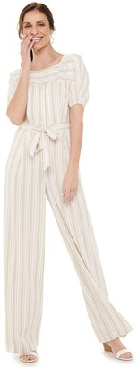 Chaps Women's Short Sleeve Jumpsuit with Self Belt