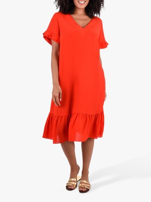 Live Unlimited Curve Frill Shift Dress, Red