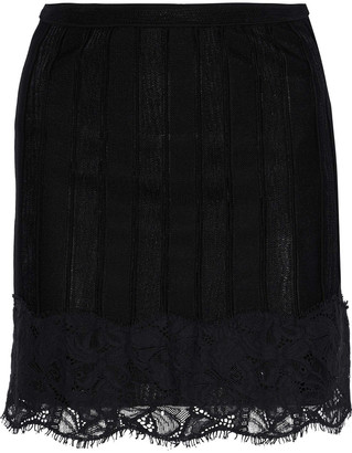 Roberto Cavalli Corded Lace-appliqued Stretch-knit Mini Skirt