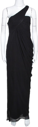 Armani Collezioni Black Silk Draped One Shoulder Asymmetric Gown M