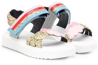 Marni Cloud-Applique Glitter Sandals