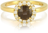 Forzieri 0.24 ct Diamond Pave 18K Gold Ring w/ Smoky Quartz