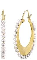 Irene Neuwirth Akoya Pearl Hoop Earrings- Yellow Gold