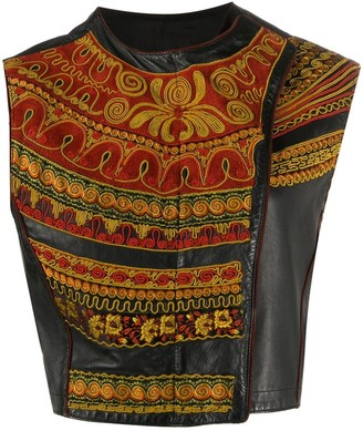 Jean Paul Gaultier Pre-Owned 1990s Embroidered Panel Leather Vest