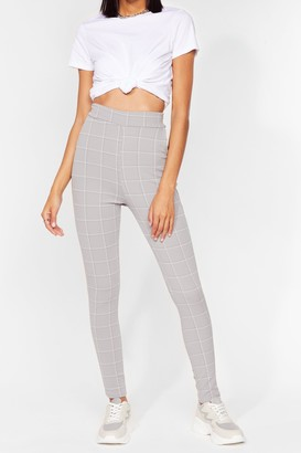 Nasty Gal Womens Check It Over High-Waisted Pants - Grey
