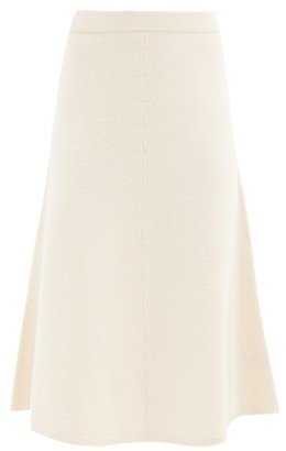 Joseph A-line Wool Knitted Midi Skirt - Ivory
