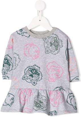 Kenzo Logo Tiger Print Sweater Dress