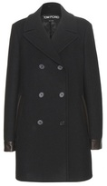 Tom Ford Leather-trimmed Wool Pea Coat