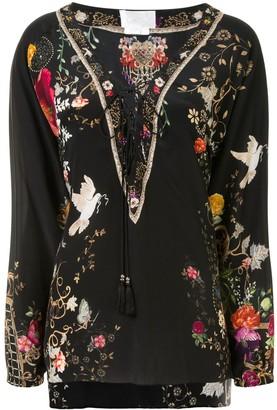 Camilla Lace-Up Silk Blouse