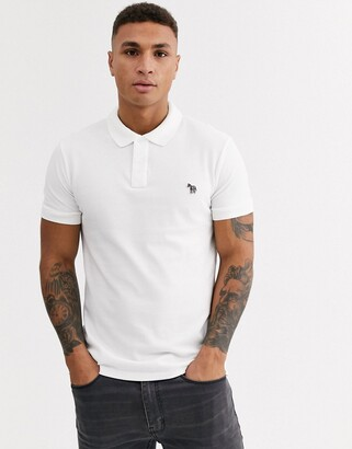 Paul Smith slim fit zebra logo polo in white