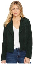 Blank NYC Emerald Green Moto Suede Jacket in Ever Green Women's Coat