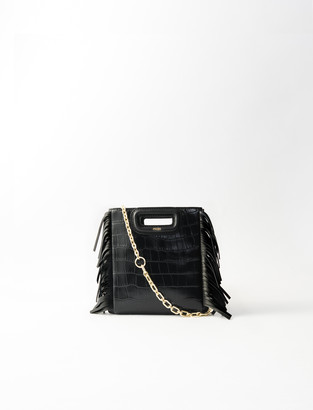 Maje Mini embossed-leather M bag with chain