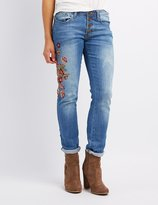 Charlotte Russe Machine Jeans Embroidered Skinny Jeans