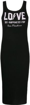 Love Moschino Ribbed Knit Logo Dress