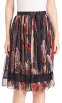 Jason Wu Lace-Inset Printed Chiffon Skirt