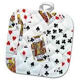 3dRose InspirationzStore Game designs - Scattered playing cards photo - for card game players eg poker bridge games casino las vegas night - 8x8 Potholder (phl_112896_1)