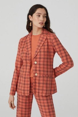 Nice Things Light Coral Checked Linen Blazer - 36