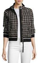 Moncler Fiadone 3/4-Sleeve Boxy Textured Jacket, Black