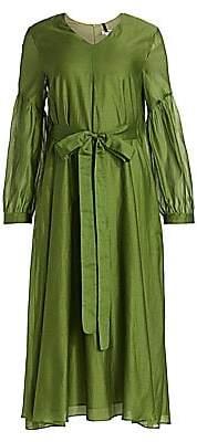 Max Mara Women's Rive Puff-Sleeve Cotton & Silk Midi Dress
