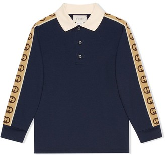 Gucci Kids Interlocking G logo-stripe polo shirt