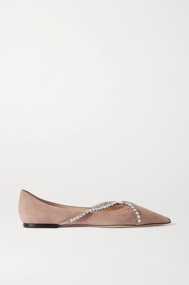 Jimmy Choo Genevi Crystal-embellished Suede Point-toe Flats - Antique rose