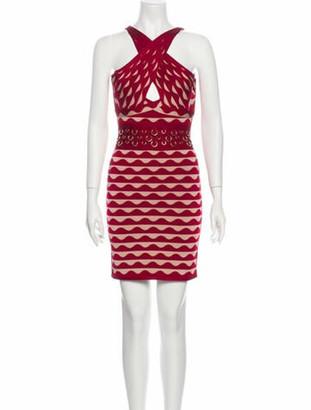 Herve Leger Printed Mini Dress Red