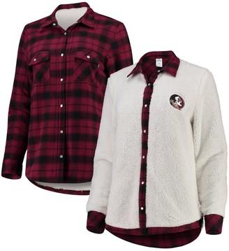 Women's Garnet/Cream Florida State Seminoles Reversible Sherpa Flannel Long Sleeve Button-Up Shirt