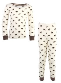 Touched by Nature Toddler Girls and Boys Moose Tight-Fit Pajama Set, Pack of 2