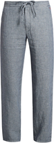 120% Lino 120 LINO Drawstring-waist striped linen trousers