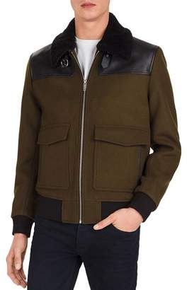 The Kooples Orione Leather-Trimmed Jacket
