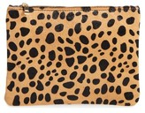 BP Leopard Print Genuine Calf Hair Pouch - Brown