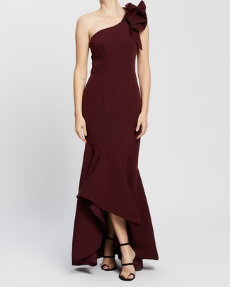 Bariano Alessa One-Shoulder Frill Gown