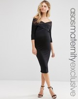 Asos Lace Off Shoulder Bodycon Dress
