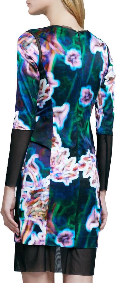 Milly Mesh-Trim Printed Dress