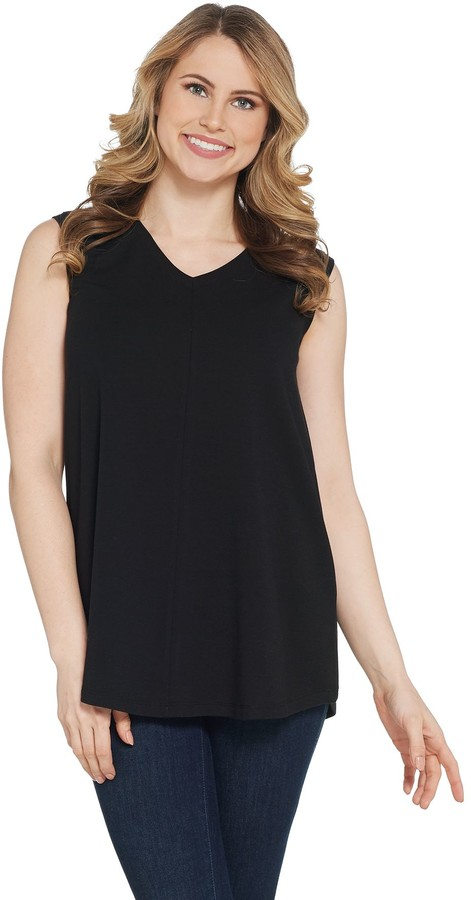 Denim & Co. Essentials V-Neck Knit Tank with Seaming Detail