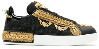 Dolce & Gabbana Embellished Lace-Up Sneakers