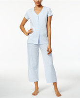 Charter Club V-Neck Top and Cropped Pants Printed Cotton Pajama Set, Only at Macy's