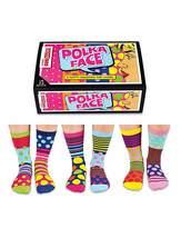Fashion World Polka Face Oddsocks for Ladies