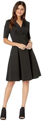 Badgley Mischka Flare Scuba Suit Dress (Black) Women's Dress