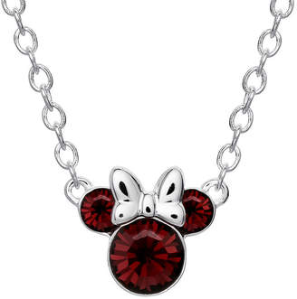 DISNEY MINNIE MOUSE Disney Minnie Mouse Fine Silver Plated Crystal Birthstone Necklace