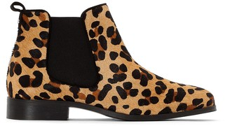 Cosmo Paris Cosmoparis Low Boot Plate Verob Ankle Chelsea Boots in Leopard Print