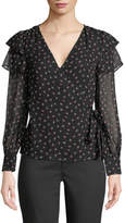 Club Monaco Strils Silk Wrap Long-Sleeve Blouse