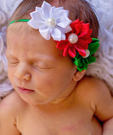 Jean Marie Green & Red Pearl Flower Headband