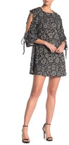 Papillon Floral Ruffled Cold Shoulder Brushed Knit Shift Dress