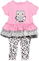 Baby Essentials Pink Owl Ruffle Tunic & Dot Leggings - Infant